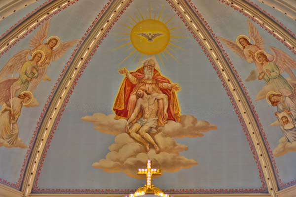 Saint Josaphat Catholic Church Detroit MI apse mural the Holy Spirit Father and the crucified Son