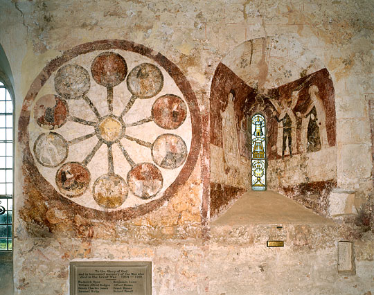fresco on the wall of the Church of St. Mary in Kempley